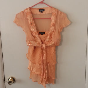 Bebe Orange 2-Piece Blouse & Cover-up Set